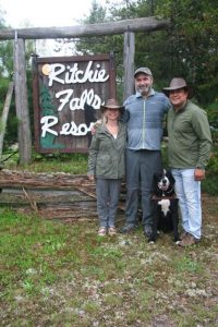 Lawrence Gunther with the co-management team in front of the indigenous-inspired Ritchie Falls eco-tourism resort